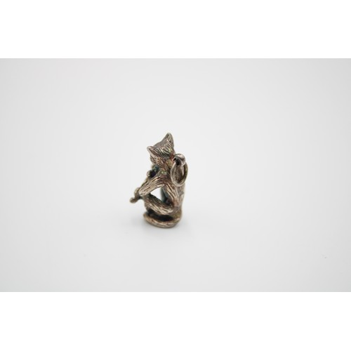 13 - Sterling Silver Cat Playing A Violin Pendant / Charm...