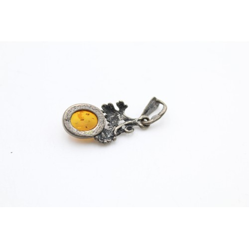 14 - Sterling Silver Polish Baltic Amber Pendant...