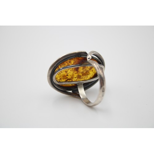24 - Polish Sterling Silver Large Amber Top Ring...