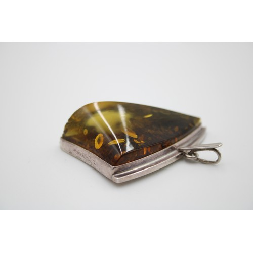 17 - Chunky Sterling Silver Large Amber Pendant...