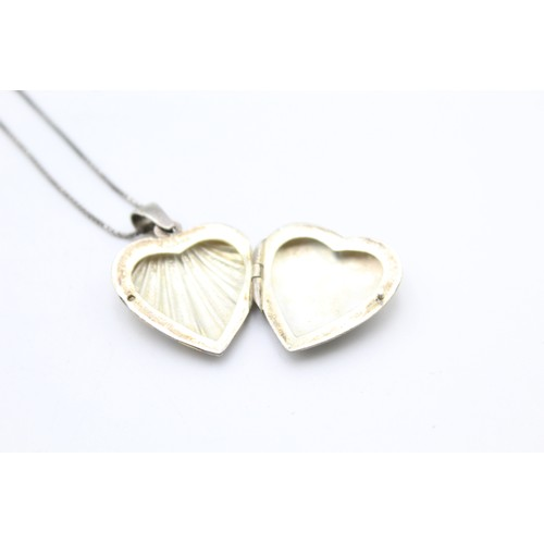 27 - Sterling Silver Heart Locket Necklace...