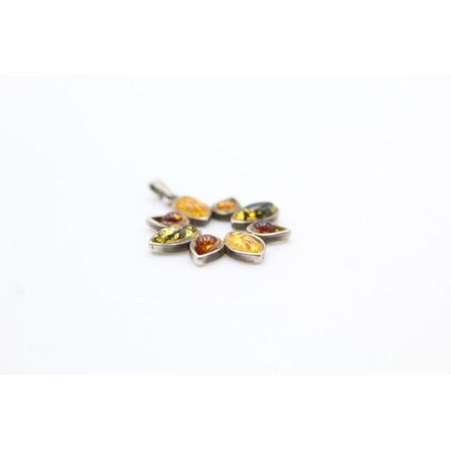 20 - Silver Amber Flower Pendant...