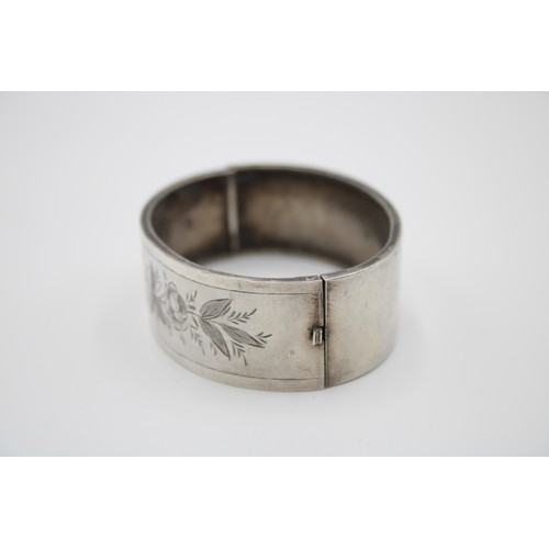 41 - Sterling Silver Etched Band Edwardian Aesthetic...