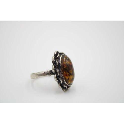 43 - Vintage .925 Sterling Silver Amber Oval Ring...