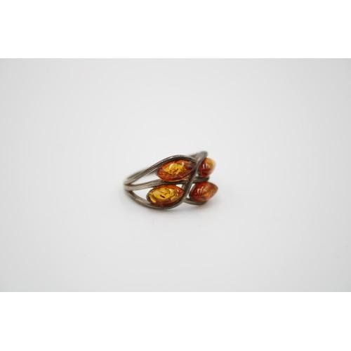 48 - Vintage Sterling Silver Amber Ring...
