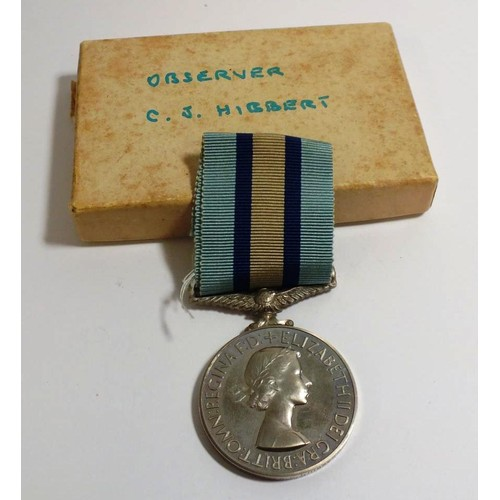 342 - ROYAL OBSERVER CORPS MEDAL AND BOX OF ISSUE...