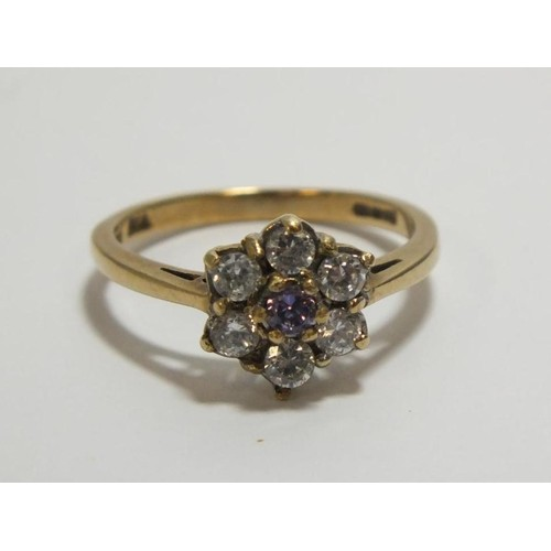 253 - 9ct GOLD 50pts DIAMOND CLUSTER RING SIZE L- WEIGHT 2.3g...