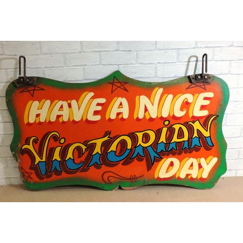 386 - ORIGINAL VINTAGE FAIRGROUND RIDE DOUBLE SIDED WOODEN SIGN - CAKE WALK & HAVE A NICE VICTORIAN DAY - ...