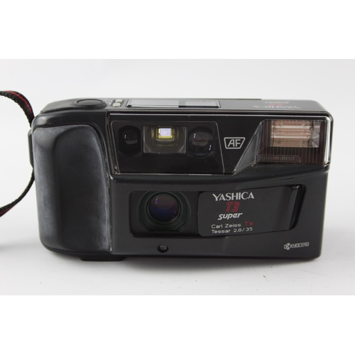 114 - Yashica T3 Super AF COMPACT FILM CAMERA Carl Zeiss T* Tessar 35mm Lens WORKING...