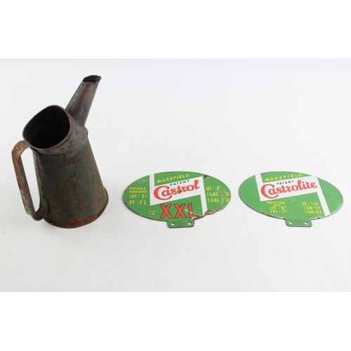 130 - 3 x Vintage CASTROL Wakefield Advertising Inc Enamel Signs, Oil Can Etc...