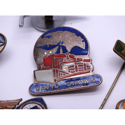 366 - NINE OLD ENAMEL MOTOR RELATED BADGES INCLUDES DODGE BROTHERS, DAVID BROWN, GARDENER ETC...
