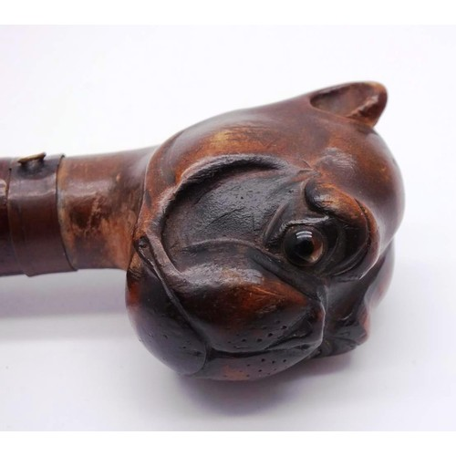 429 - ANTIQUE VICTORIAN CARVED BULLDOG HEAD PAGE TURNER/LETTER OPENER WITH GLASS EYES...