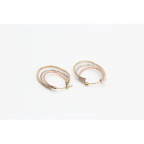 32 - 9ct white, rose and yellow gold hoop earrings (0.8g)