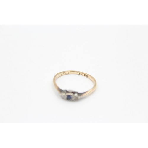 47 - 9ct antique trilogy diamond and sapphire ring (1.1g) size M