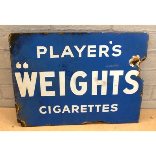 480 - PLAYERS WEIGHTS CIGARETTES DOUBLED SIDED ENAMEL SIGN - 16