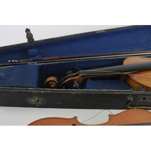67 - 2 x Antique / Vintage VIOLINS Inc. Cased, Mother of Pearl Details, Concert Etc
