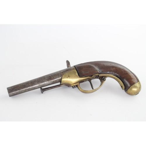 120 - Antique Flint Lock PISTOL with Wooden Handle, Brass Detail