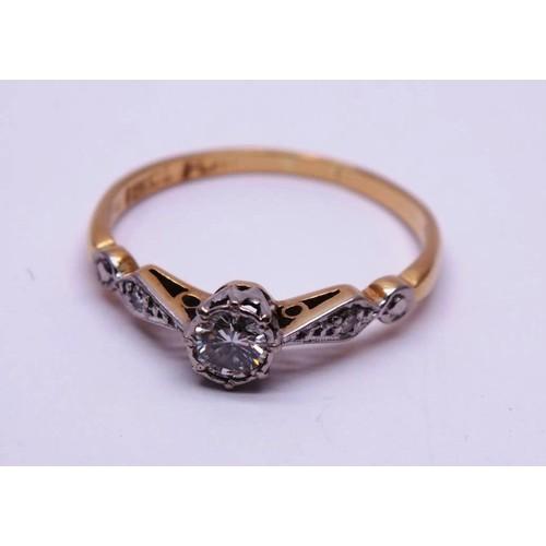 478 - 18ct GOLD & PLATINUM DIAMOND SOLITAIRE 1.9g
