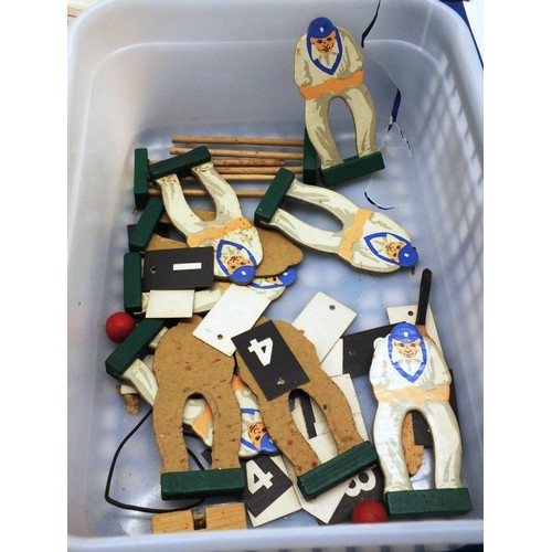 422 - VINTAGE WOODEN MECHANICAL TABLE CRICKET GAME PIECES - NO BOX