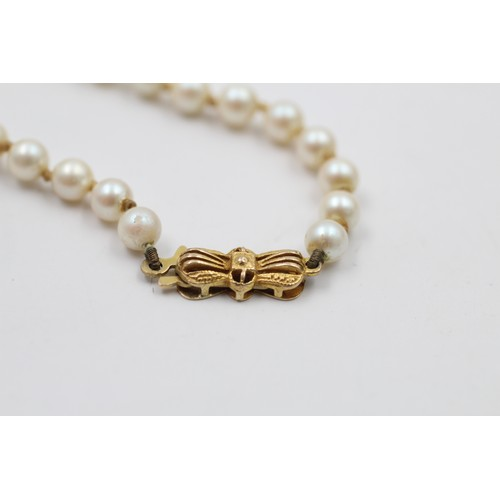 12 - 9ct gold bow clasp pearl necklace (15g)