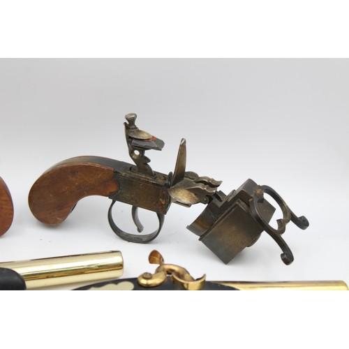 13 - 6 x Assorted Novelty Gun Shaped Cigarette LIGHTERS Inc Vintage, Table Lighters