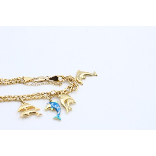 296 - 9ct gold seven dolphins charm bracelet (8.1g)