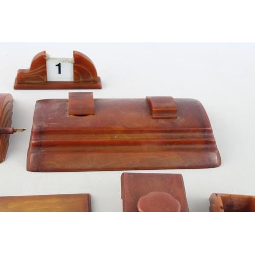 297 - 6 x Antique / Vintage BAKELITE Art Deco Desk Accessories Inc Inkwells, Blotter