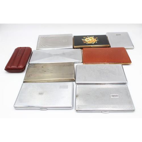 6 - 10 x Assorted Vintage TOBACCIANA Cigarette & Cigar Cases Inc Leather, Souvenir