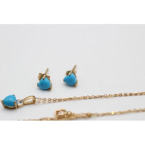 8 - 2 x 9ct gold vintage heart cut turquoise pendant necklace & stud earrings set (1.6 g)