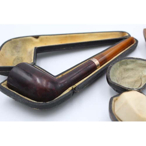 10 - 3 x Cased Antique MEERSCHAUM Estate Smoking Pipes Inc. SOLID SILVER MOUNT