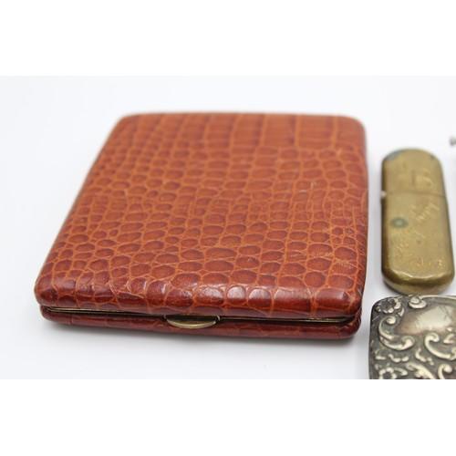 11 - 6 x Antique / Vintage TOBACCIANA Inc Vesta Cases, Lighters, Silver Plate Etc