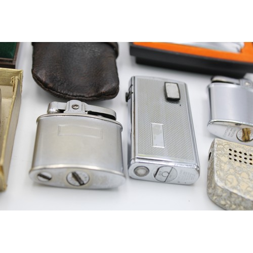 14 - 9 x Assorted Vintage RONSON Cigarette LIGHTERS Inc Boxed, Varaflame, Cadet Etc