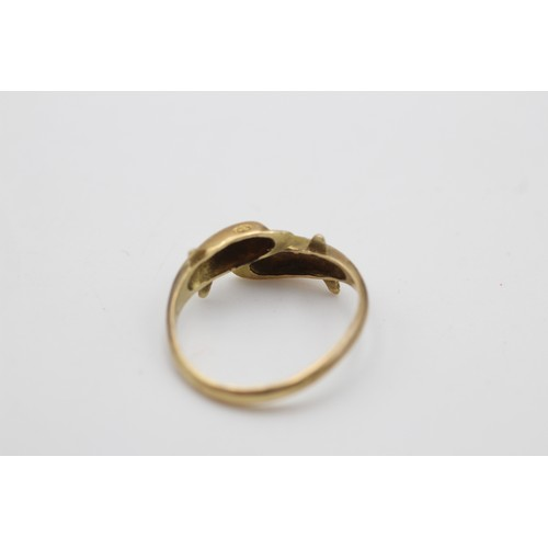 16 - 9ct gold vintage dolphin bypass ring (2.6 g)  SIZE N