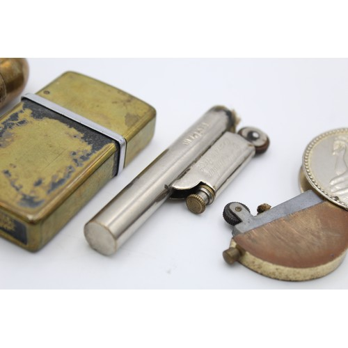 18 - 4 x Assorted Vintage Cigarette LIGHTERS Inc Brass, Trench Art, Coin, Nimrod Etc
