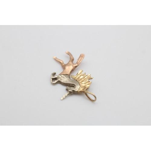 24 - 14ct gold vintage tri-colour unicorn pendant (1.2 g)