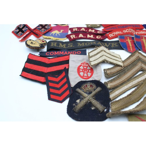25 - Job Lot of Vintage MILITARY Cloth Badges Inc RAF, Officers Cap Badge, WW2 Etc