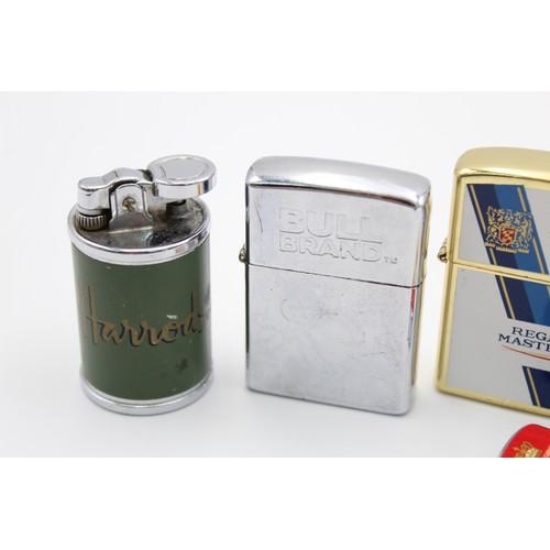 27 - 6 x Assorted ADVERTISING Cigarette LIGHTERS Inc Vintage, Harrods, L&M Etc