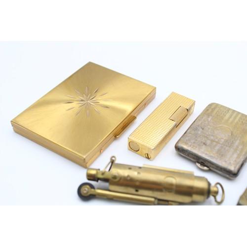 34 - 8 x Antique / Vintage TOBACCIANA Inc Vesta Cases, Lighters, Silver Plate Etc
