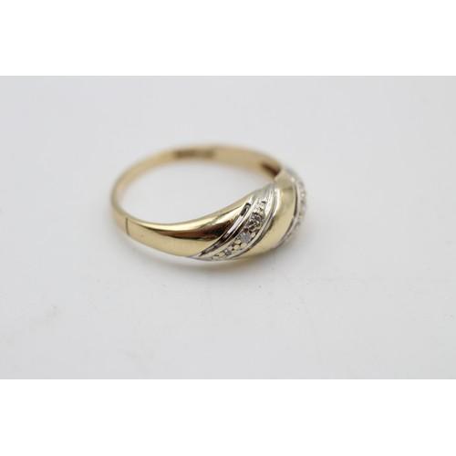 36 - 9ct yellow & white gold vintage diamond dress ring (2.3 g) SIZE N