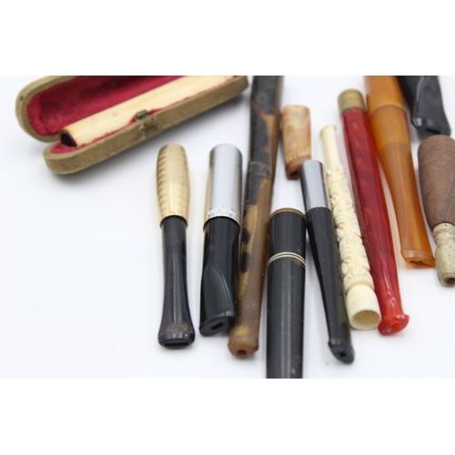 38 - 12 x Assorted Vintage Cheroot Holders Inc. Carved, Cased, Art Deco, Turkish, Etc
