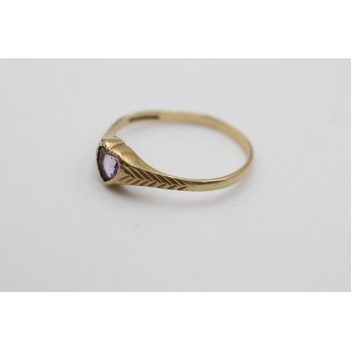 40 - 9ct gold vintage heart shaped amethyst ring (1.3 g) SIZE L