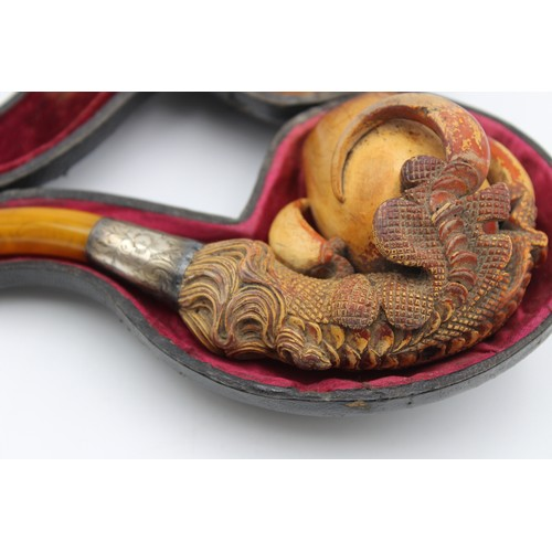41 - Antique Carved MEERSCHAUM Dragon / Eagle Claw Design Estate Smoking Pipe in Case