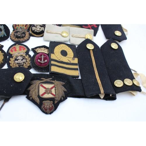 46 - Job Lot of Vintage NAVY / SHIPPING LINE Cloth Badges Inc Officers Bullion, Cap