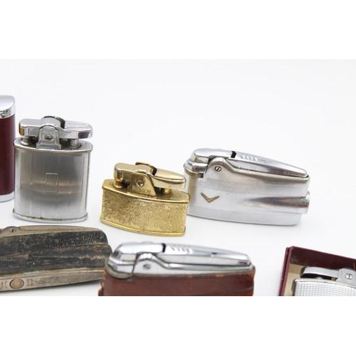 47 - 9 x Assorted Vintage RONSON Cigarette LIGHTERS Inc Boxed, Varaflame, Cadet Etc