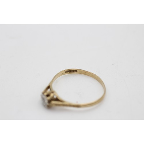 56 - 9ct gold vintage diamond cathedral set ring (1 g) SIZE P