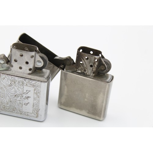 57 - 3 x Assorted ZIPPO Lighters Inc Boxed, Brass, Plain, Engraved Etc