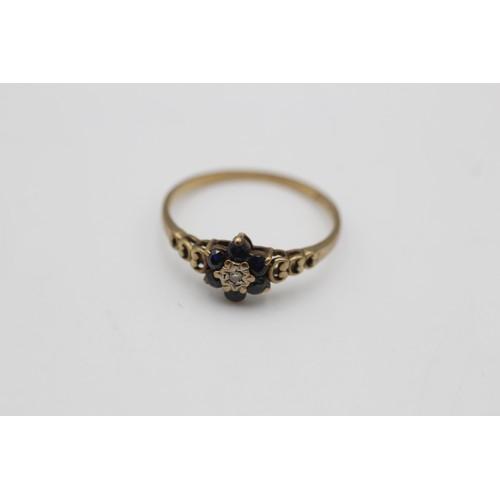 60 - 9ct gold vintage diamond & sapphire ring (1.2 g)  SIZE N
