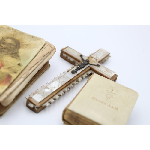 59 - 4 x Antique / Vintage Bibles & Cross Inc Mother of Pearl, Ivory Etc