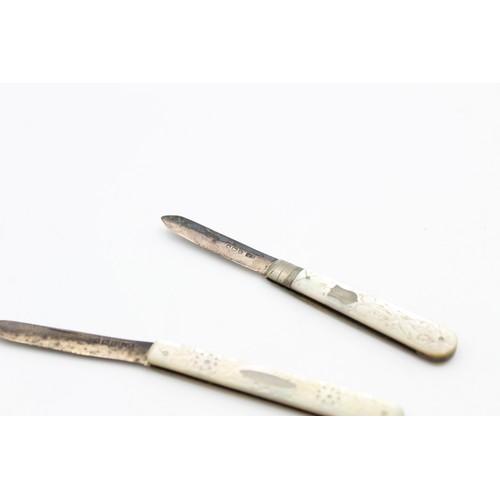 62 - 2 x Antique Hallmarked .925 STERLING SILVER Pocket / Fruit Knives Inc MOP (31g)