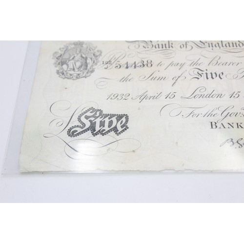 76 - 1932 BANK OF ENGLAND White £5 Bank Note Chief Cashier B.G Catterns